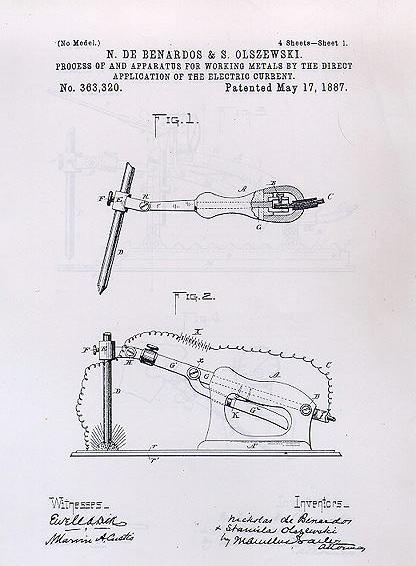 1ª patente de soldadura de N de Bernardos & S. Olszewiski